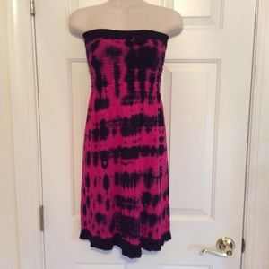Dresses & Skirts - pink peacock and black tie dye tube top dress